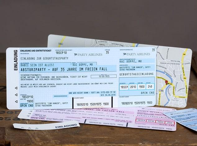 Flugticket als Einladungskarte