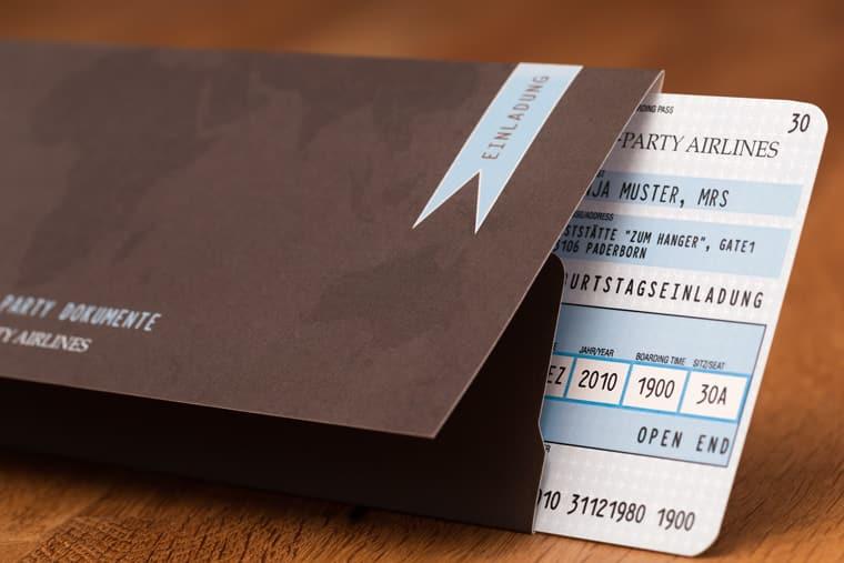 mappen für flugticket als einladungskarte - vollstark.de, Einladung