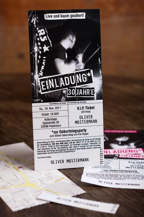 """Konzertkarte als Einladungskarte """"Rocking Birthday"""""""