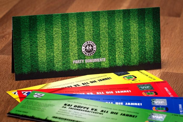 Mappen für Fussball Ticket Einladungskarte
