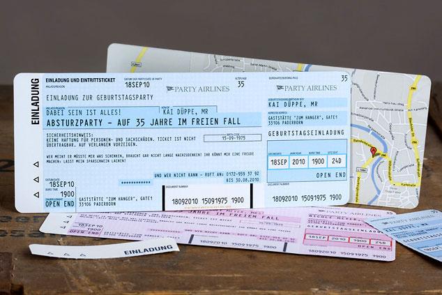 Flugticket-Einladungskarte Überblick
