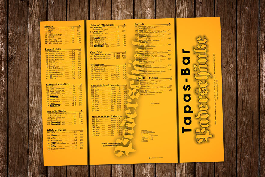 Speisekarte Tapas-Bar Paderschänke