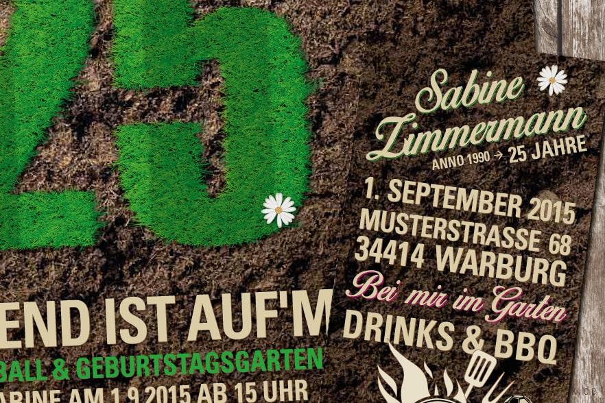 Gartenparty Einladungskarte Mit Gras Text, Einladung