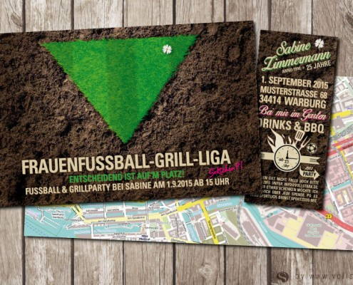 Einladungskarte : Frauenfussball-Grill-Liga. Einladung zur Gartenparty