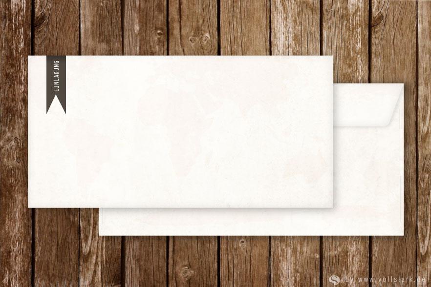Briefumschläge für Einladungskarten, DinLang, Weltkarte