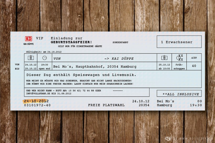 Fahrkarte als Einladung