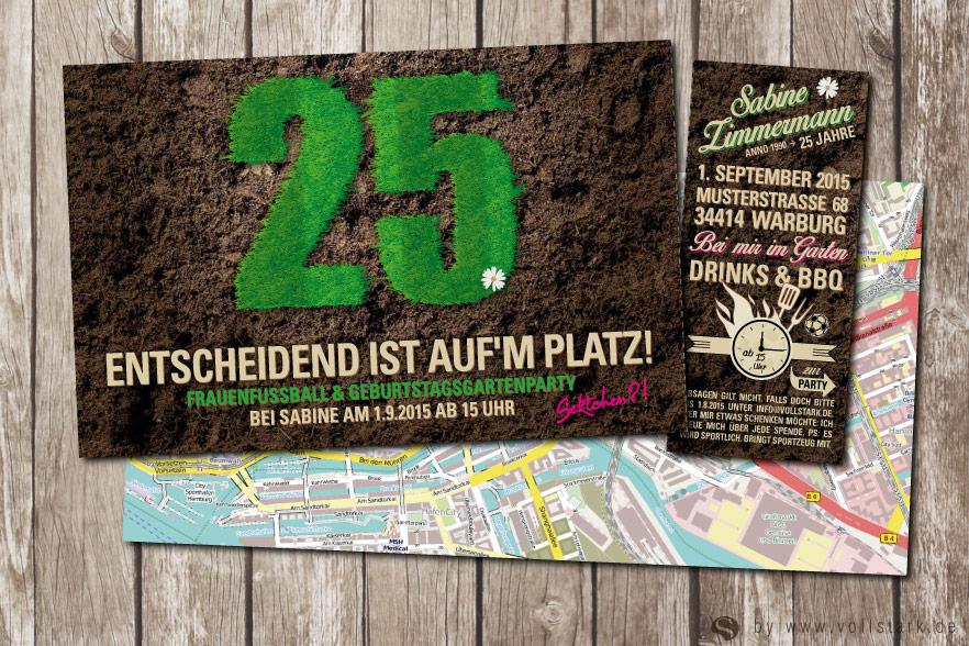 Gartenparty Einladungskarte mit Gras Text
