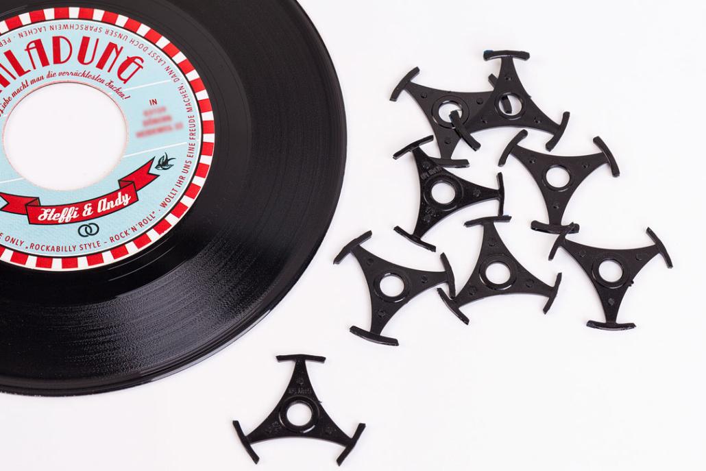 Single-Stern Tischdeko für Schallplatte als Einladungskarte