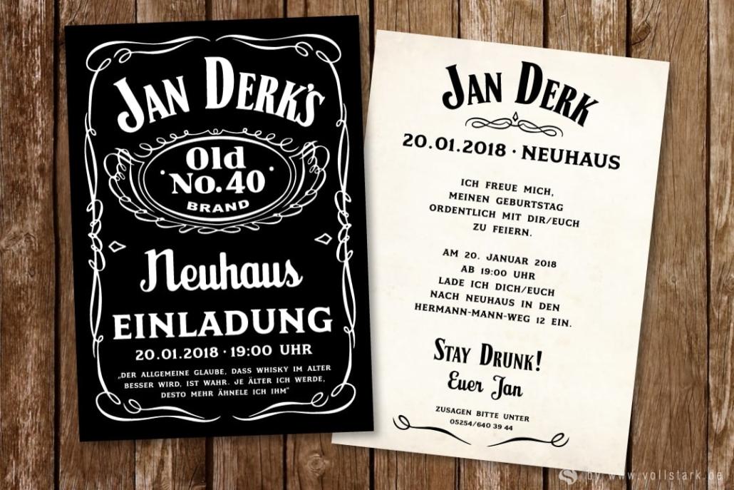 Einladungskarte Whiskey Jack
