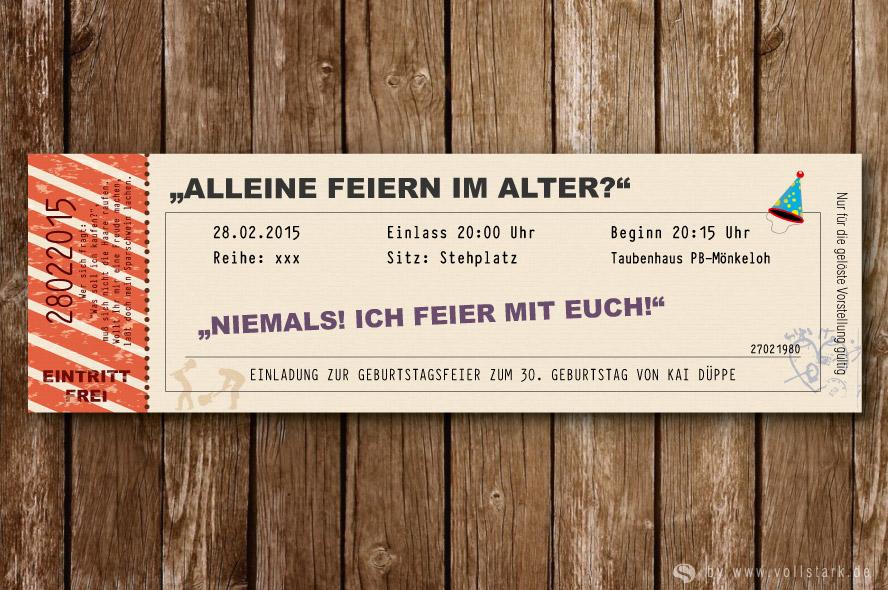 Ticket Einladungskarten Archive - vollstark.de // ausgefallene ...