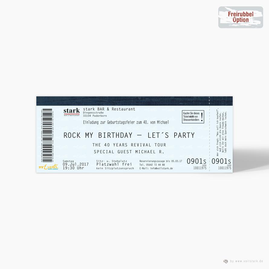 Konzertkarte als Einladungskarte