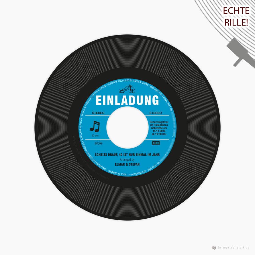 Schallplatte als Einladungskarte (original Vinyl Single)