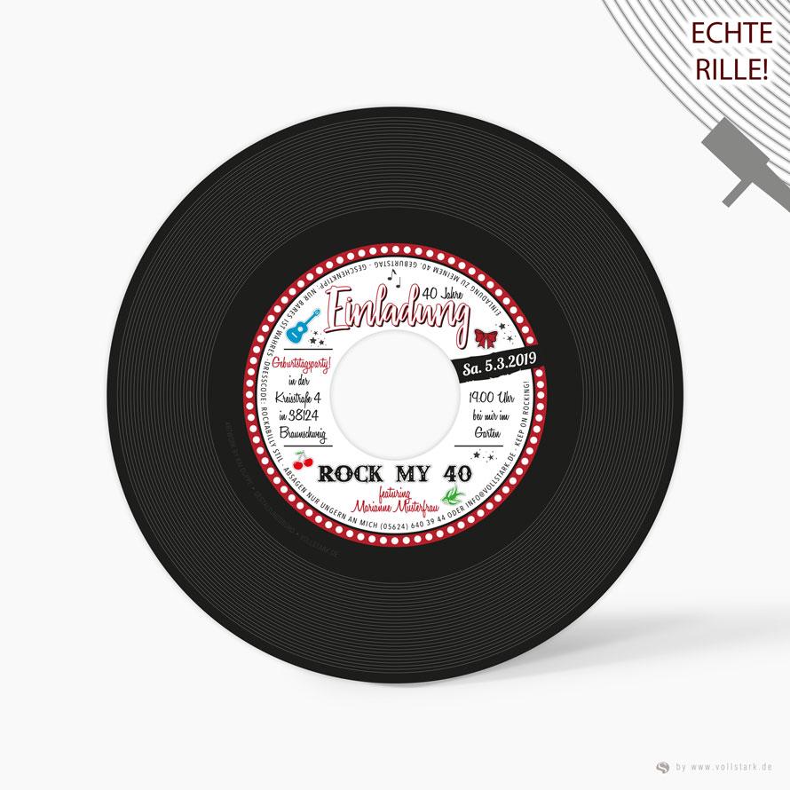 """Schallplatte als Einladungskarte """"Rockabilly Stars"""""""