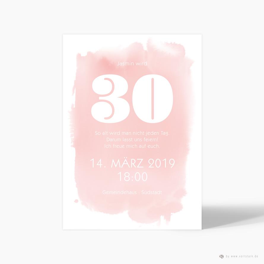 Einladungskarte Aquarell Pink