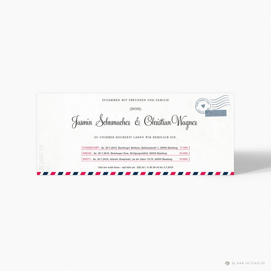 Luftpost Einladungskarte Love Mail